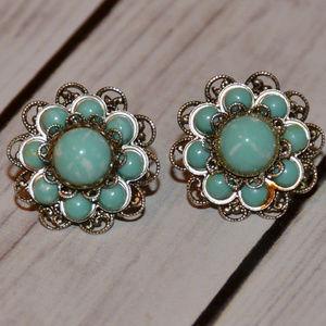 vtg silver filigree turquoise cab flower earrings